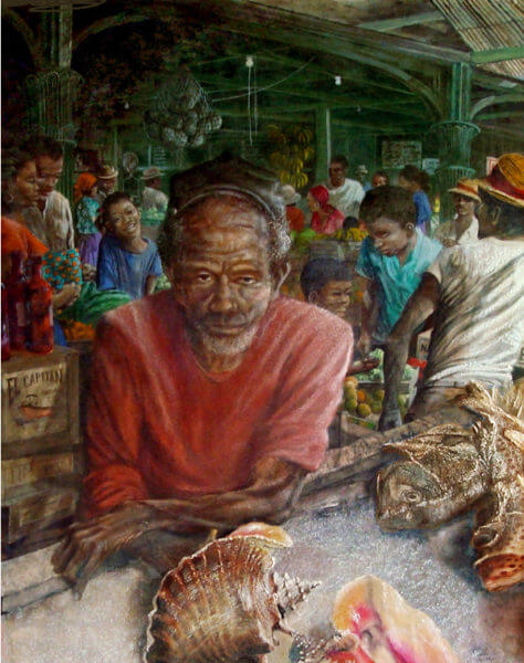 painting of man selling conch shells