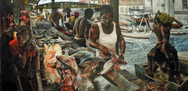 Painting of Jimmy Hines at the Market Painting